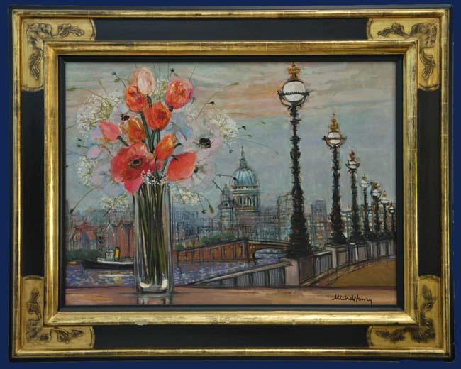 St. Paul et la Tamise a Londres Framed
