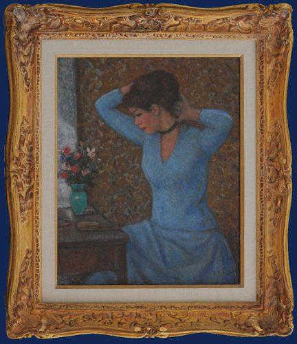 Jeune Femme devant la coiffeuse Framed