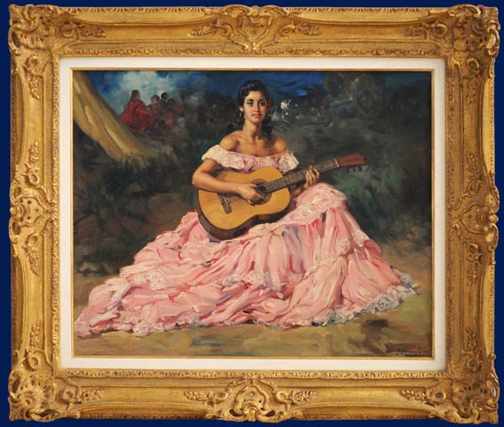 Gypsy Guitariste Framed
