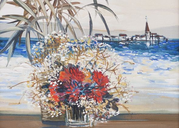 Flowers by Shore On Wall