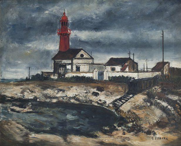 Light House under Stormy Sky