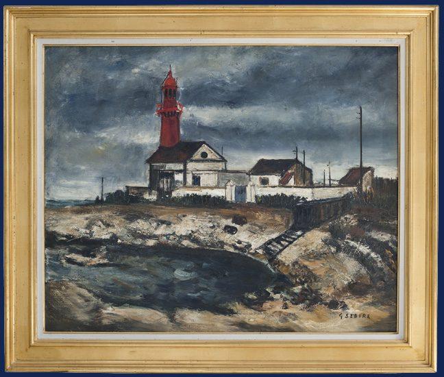 Light House under Stormy Sky Framed