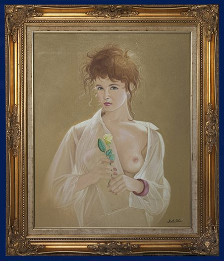 Lady with Yellow Rose Framed