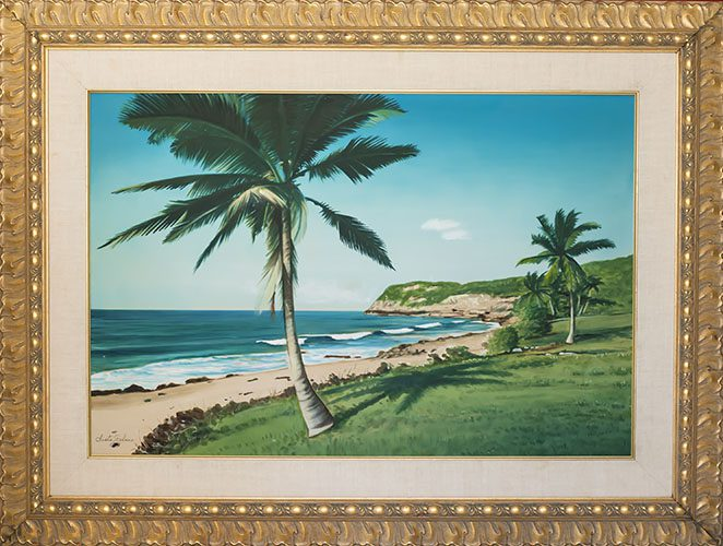 Seaside with Palm Trees Framed
