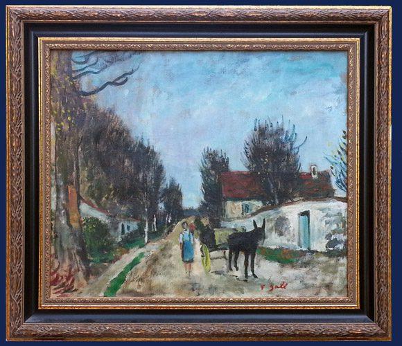Village, Ane et Charrette Framed