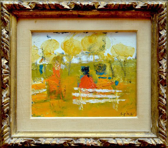 Two Girls on the park bench Framed