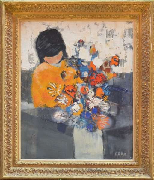 Girl with Flower 2 Framed
