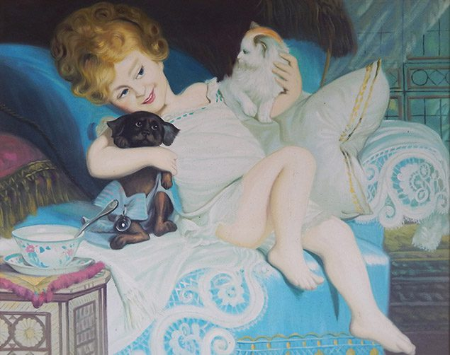 Girl with a dog and a cat