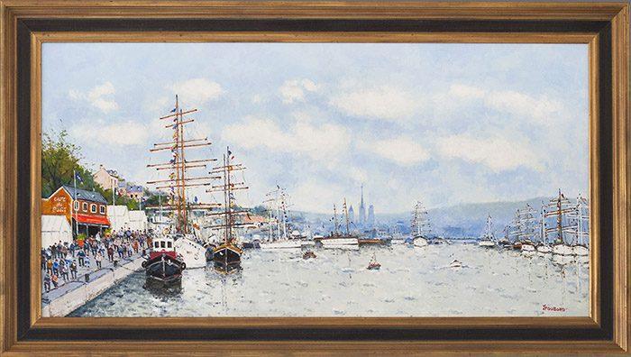 Les Grands Voiliers dans le port Rouen Framed