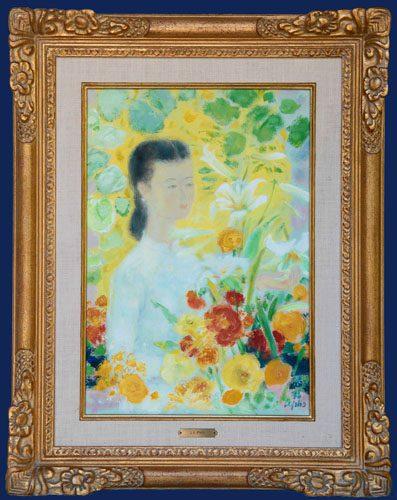 La Fille au Bouquet Framed