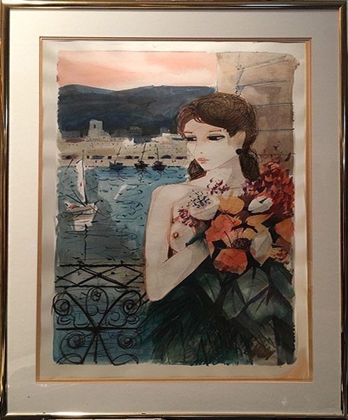 Lady with Bouquet of Flowers Framed