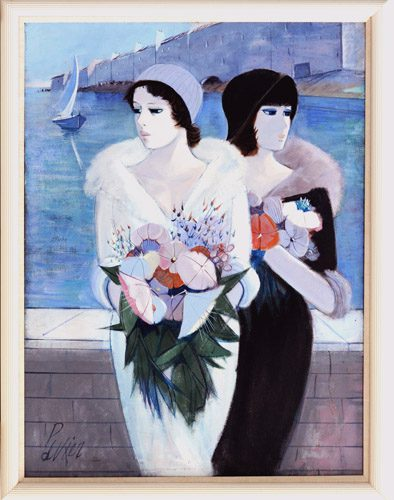 Two Women with Flower Framed