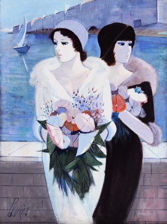 Two Women with Flower