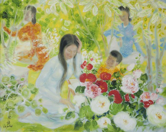 Mother & Child with Two Ladies in the Garden