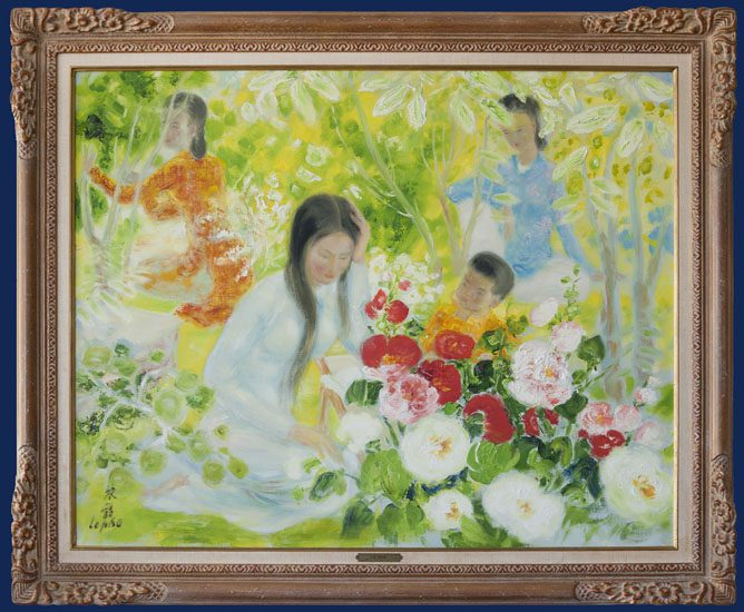 Mother & Child with Two Ladies in the Garden Framed