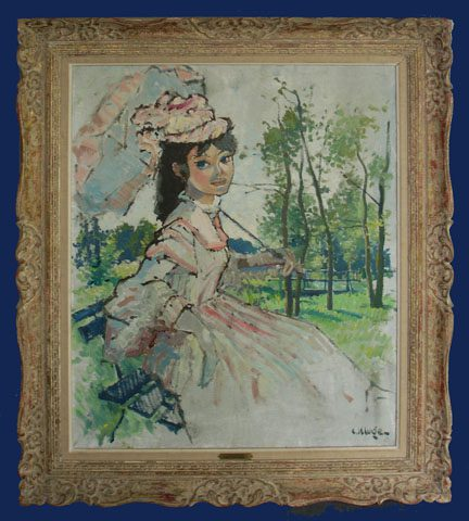 Lady with Parasol Framed