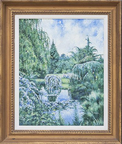 Pond in the forest Framed
