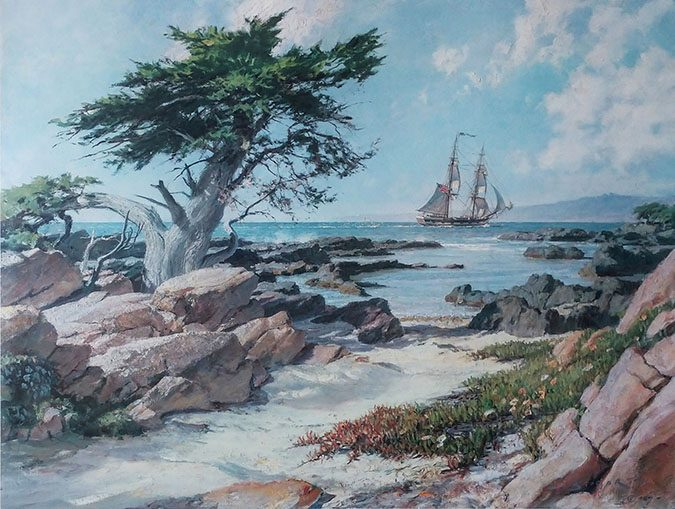 The Brig Pilgrim entering the Monterey Bay 1835
