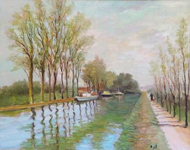 Canal with Poplar Trees