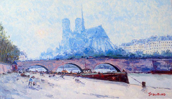 Paris la Seine et Notre Dame dans la brume